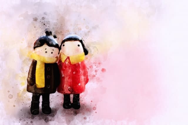 Psychology ONE Digital painting of couple dolls, watercolour